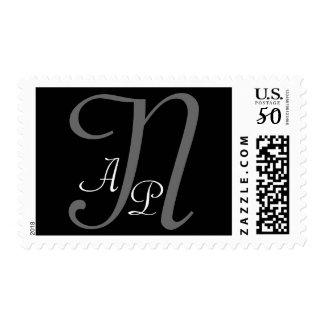 Three Initials Monogram Grey on Black Postage N