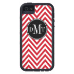 Three Initials Monogram Red Chevron Pattern Cover For iPhone 5