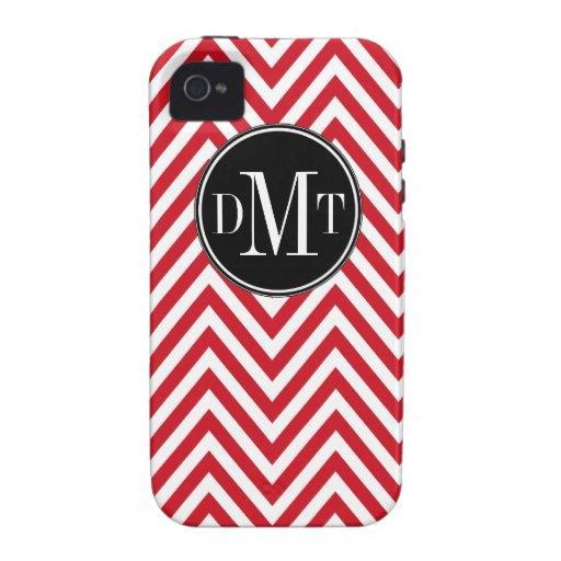 Three Initials Monogram Red White Chevron Pattern iPhone 4 Covers