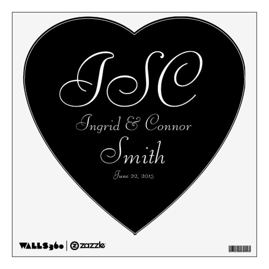 Three Initials Monogram Wedding Heart Wall Decal