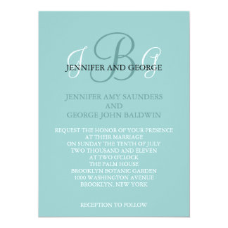 Three Initials Wedding Invitation Blue