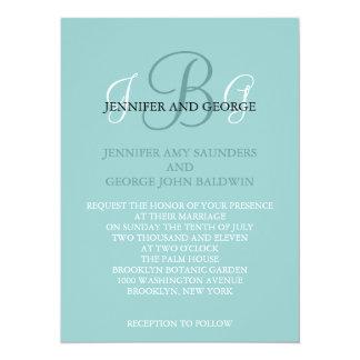 Three Initials Wedding Invitation Blue