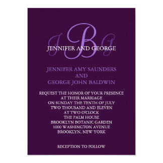 Three Initials Wedding Invitation Purple Mauve