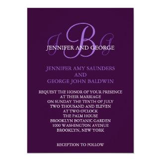 Three Initials Wedding Invitation Purple Mauve