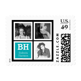 Three Instagram Photos with Initials and Name Postage