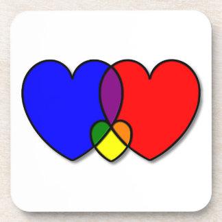 Three Interlocking Hearts Drink Coaster