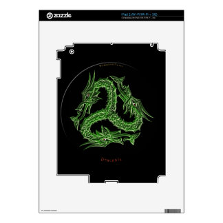 Three Jade Dragons on Black Celtic Device Skin Decals For The iPad 2