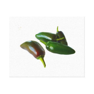 Three Jalapeno Peppers Whole Green and Red colors Canvas Print