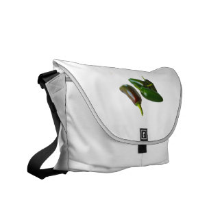 Three Jalapeno Peppers Whole Green and Red colors Messenger Bags