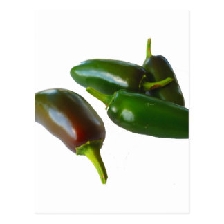 Three Jalapeno Peppers Whole Green and Red colors Postcard