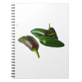 Three Jalapeno Peppers Whole Green and Red colors Spiral Notebook