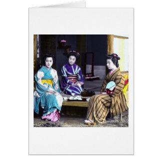 Three Japanese Geisha Vintage Old Japan Card