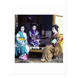 Three Japanese Geisha Vintage Old Japan Postcard