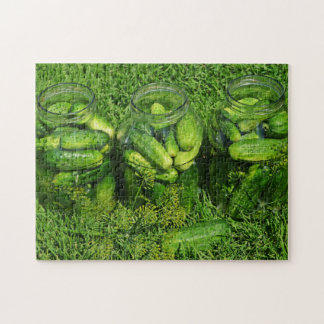 Three Jars of Cucumbers and Dill on Grass Jigsaw Puzzle