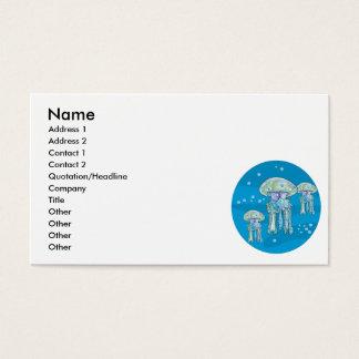 three jellyfish underwater circle design business card