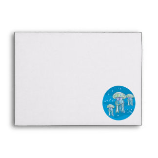 three jellyfish underwater circle design envelopes