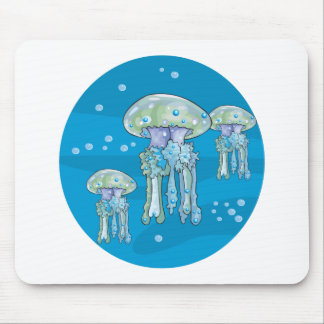 three jellyfish underwater circle design mouse pad