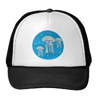 three jellyfish underwater circle design trucker hat