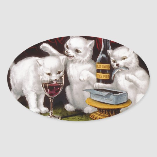 Three Jolly Kittens Oval Sticker