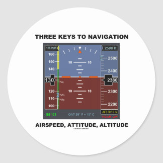 Three Keys To Navigation Airspeed Attitude EFIS Classic Round Sticker