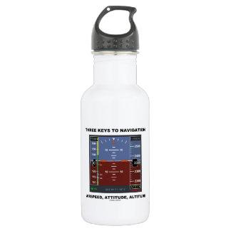 Three Keys To Navigation Airspeed Attitude EFIS Stainless Steel Water Bottle