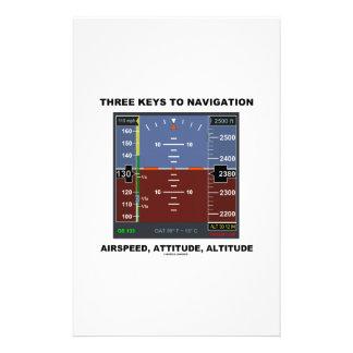 Three Keys To Navigation Airspeed Attitude EFIS Stationery Design