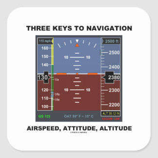 Three Keys To Navigation Airspeed Attitude EFIS Square Sticker