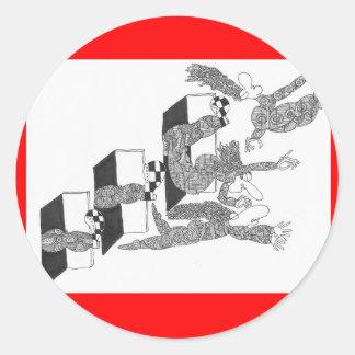 three kicks classic round sticker