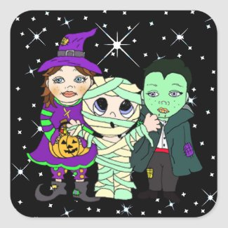 Three Kids in Halloween Costume Square Sticker