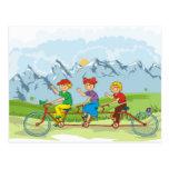 Three Kids on a Bike Post Card