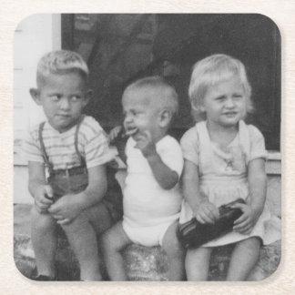 three kids on the porch square paper coaster