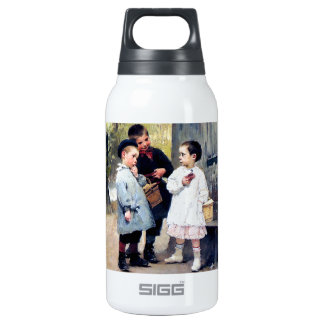 Three kids painting thermos bottle