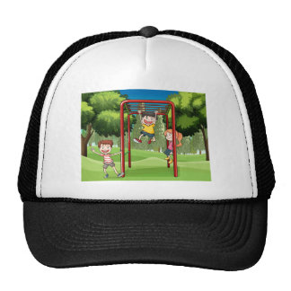 Three kids playing at the park trucker hat