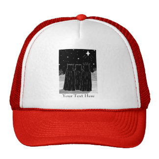 Three kings and Christmas star black and white art Trucker Hat