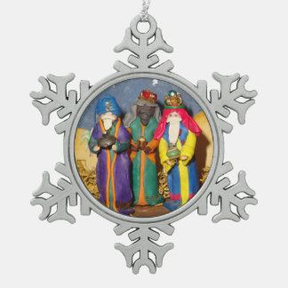 Three kings and gifts for baby Jesus christmas Snowflake Pewter Christmas Ornament