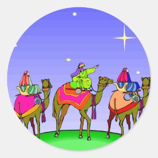 Three Kings Follow Christmas Star Classic Round Sticker