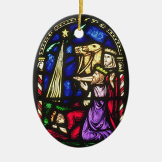 Three Kings Following the Star Double-Sided Oval Ceramic Christmas Ornament