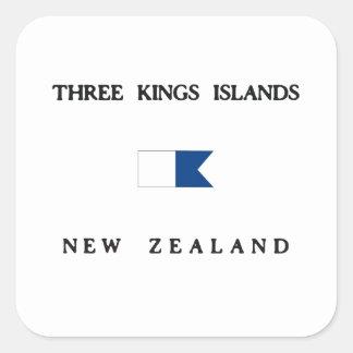 Three Kings Islands New Zealand Alpha Dive Flag Square Sticker