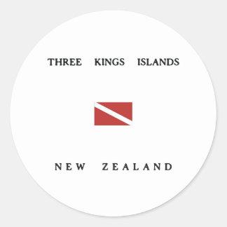 Three Kings Islands New Zealand Scuba Dive Flag Classic Round Sticker