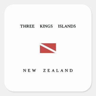 Three Kings Islands New Zealand Scuba Dive Flag Square Sticker