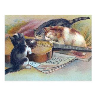 Three Kittens and a Guitar Vintage Illustration Postcard