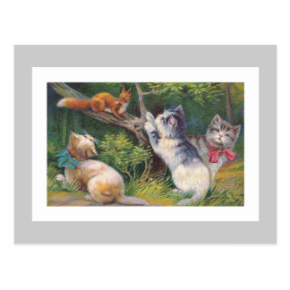 """Three Kittens and a Squirrel"" Vintage Postcard"