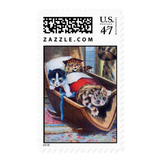 Three Kittens in a Cradle by Louis Wain Postage