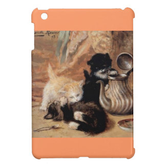 Three Kittens Playing Tea Time Antique painting iPad Mini Cover