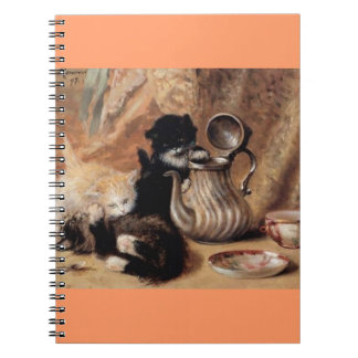 Three Kittens Playing Tea Time Antique painting Spiral Note Books