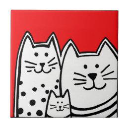 Three Kitties In Red Tile