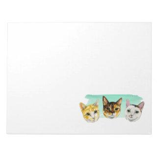Three Kitties Watercolor Painting Notepad