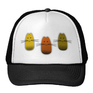 Three Kitty Tango--Rust, Gold, And Tobacco Mesh Hats