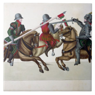 Three knights at a tournament, plate from 'A Histo Ceramic Tile