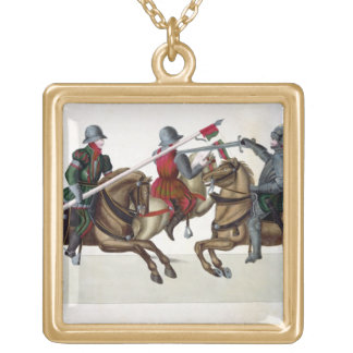 Three knights at a tournament, plate from 'A Histo Gold Plated Necklace